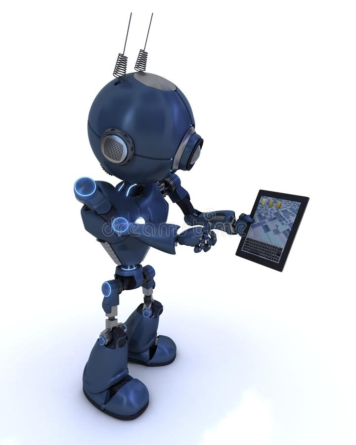 Android with mobile tablet device. 3D Render of an Android with mobile tablet device vector illustration