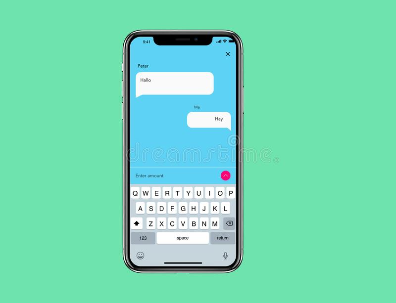 IOS Mockup Simple Messanger Wireframe. Android Mockup Simple Messanger Wireframe for new IOs phone with simple background vector illustration