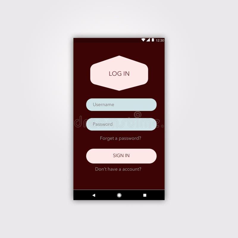 Android nazwy użytkownikiej interfejs użytkownika z materialnym projektem royalty ilustracja