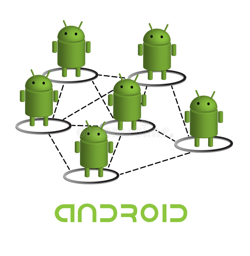 Android network. Network graph participating android robots.eps file is available royalty free illustration