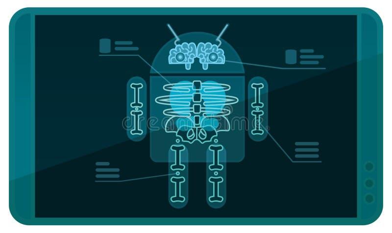 Android no raio X imagens de stock