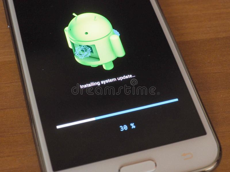 Android OS installing system update royalty free stock photography