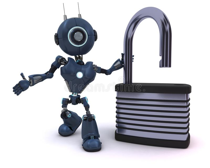 Android with padlock. 3D Render of an Android with padlock royalty free illustration