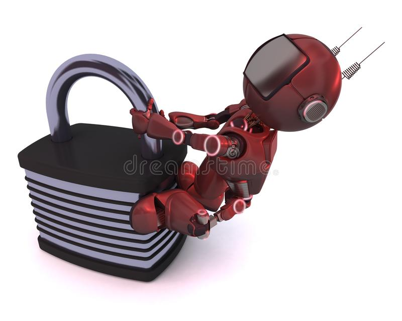 Android with padlock. 3D Render of an Android with padlock stock illustration