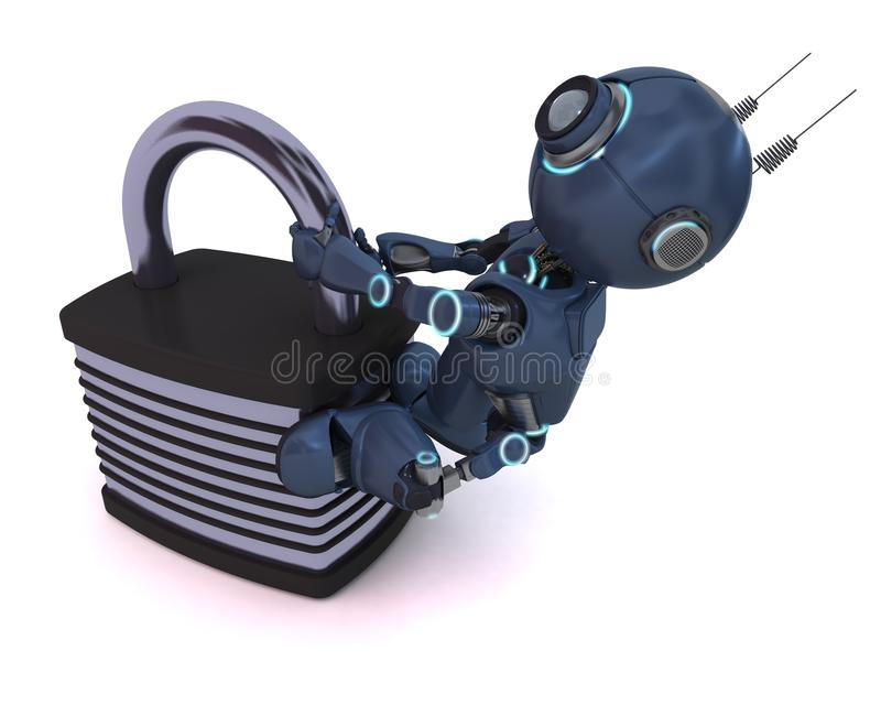 Android with padlock. 3D Render of an Android with padlock vector illustration
