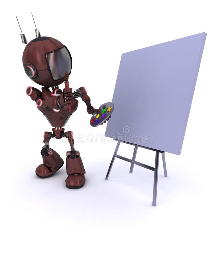 Android with paint brush and palette. 3D Render of an Android with paint brush and palette vector illustration