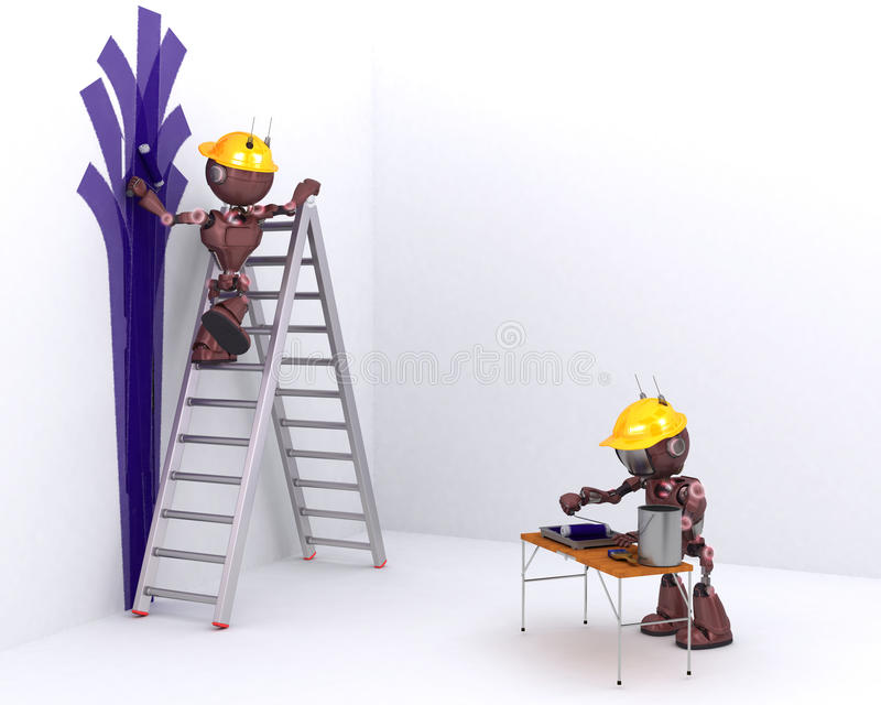 Android painter and decorator. 3D Render of an Android painter and decorator royalty free illustration