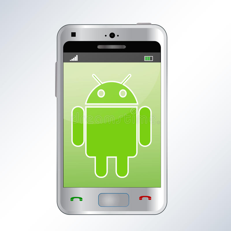 Android phone. An illustration of a android mobile phone. An additional Vector .Eps file available. ( you can use elements separately