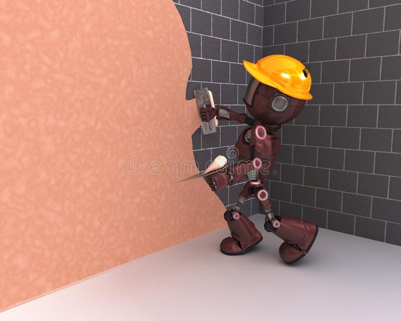 Android plastering a wall stock illustration