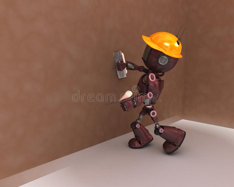 Android plastering a wall royalty free illustration