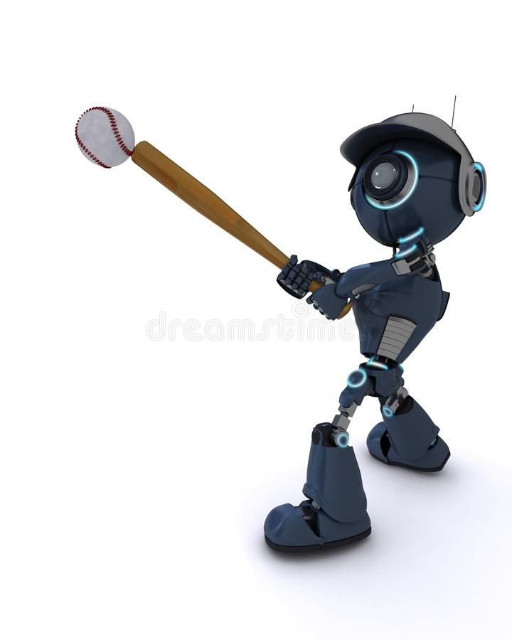 Android playing baseball stock illustration