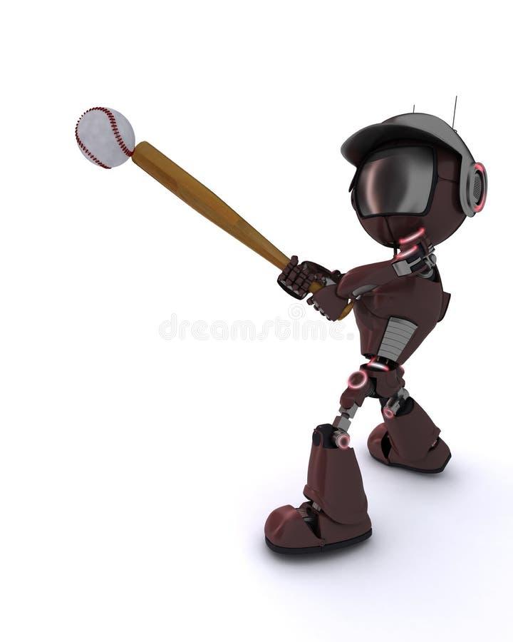 Android playing baseball stock illustration