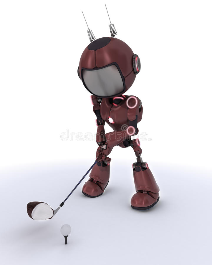 Android playing golf royalty free illustration
