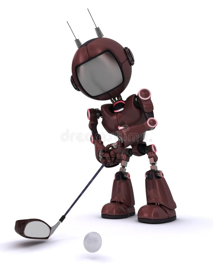 Android playing golf stock illustration