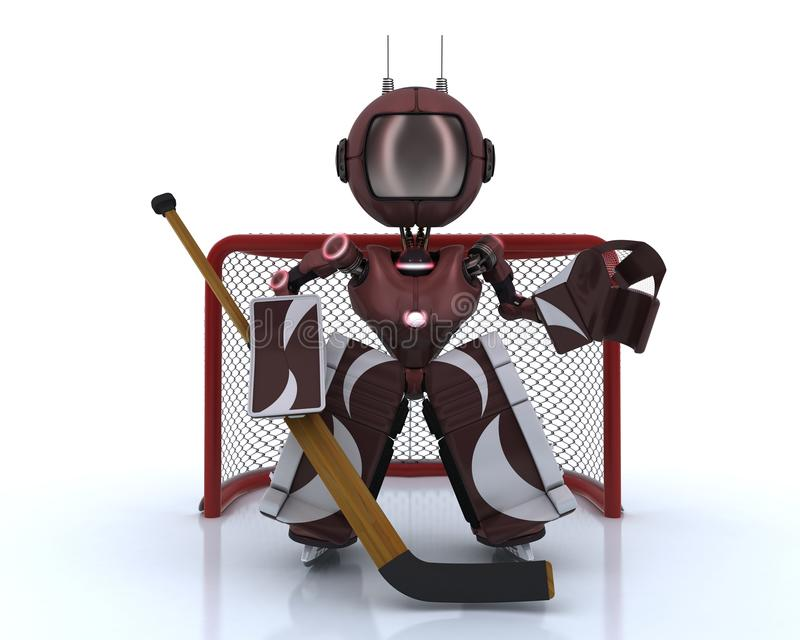 Android playing ice hockey vector illustration