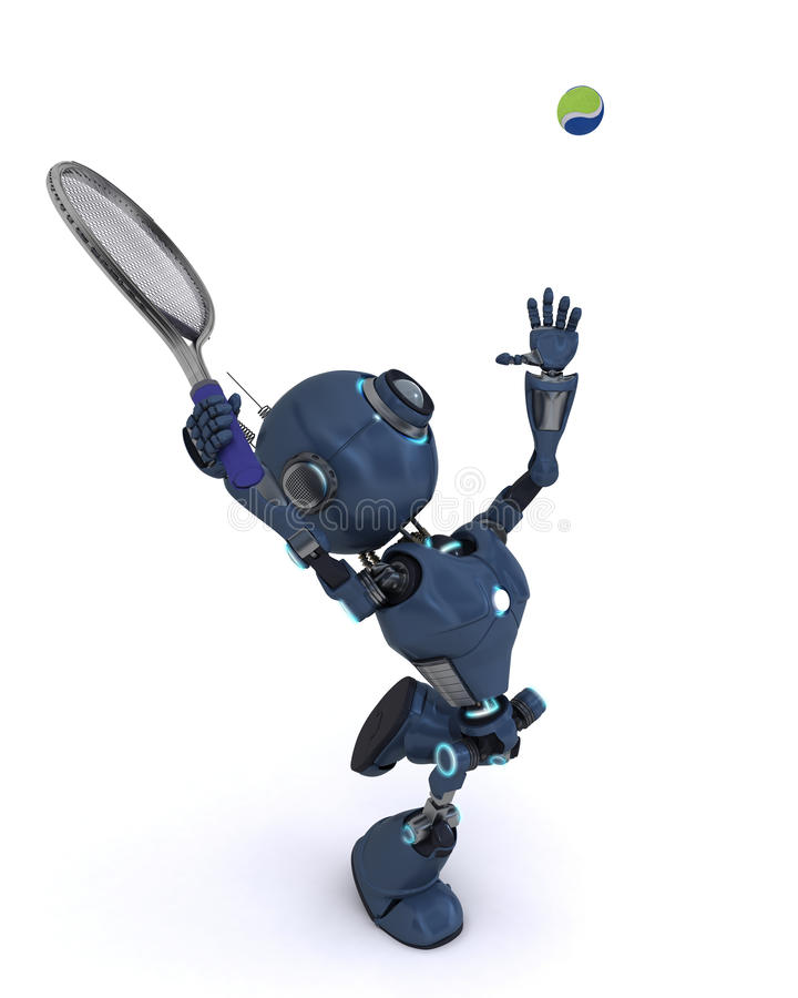 Android playing tennis stock illustration
