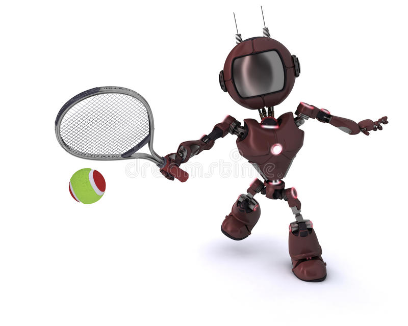 Android playing tennis vector illustration
