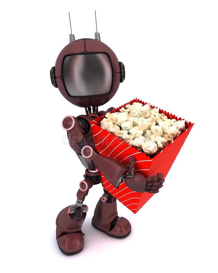 Android with popcorn. 3D Render of an Android with popcorn vector illustration
