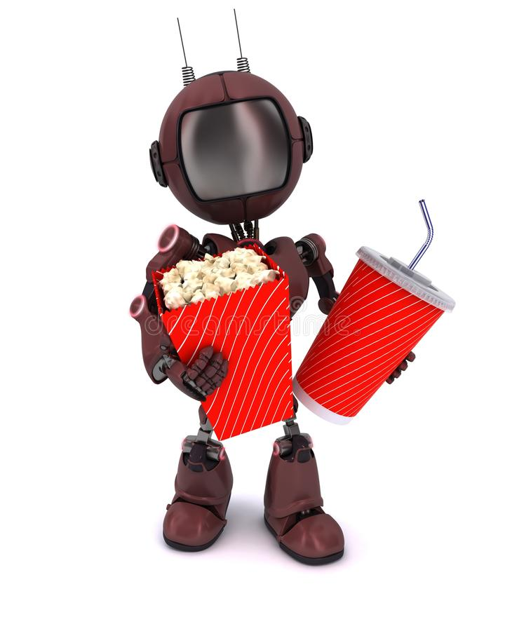 Android with popcorn and soda stock illustration