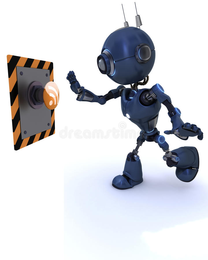 Android pushing a button. 3D Render of an Android pushing a button vector illustration