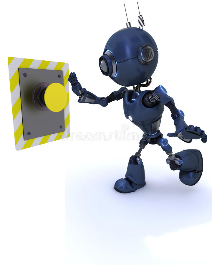 Android pushing a button stock illustration