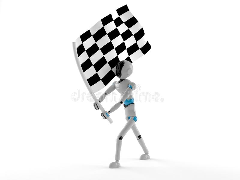 Android with racing flag. Isolated on white background vector illustration