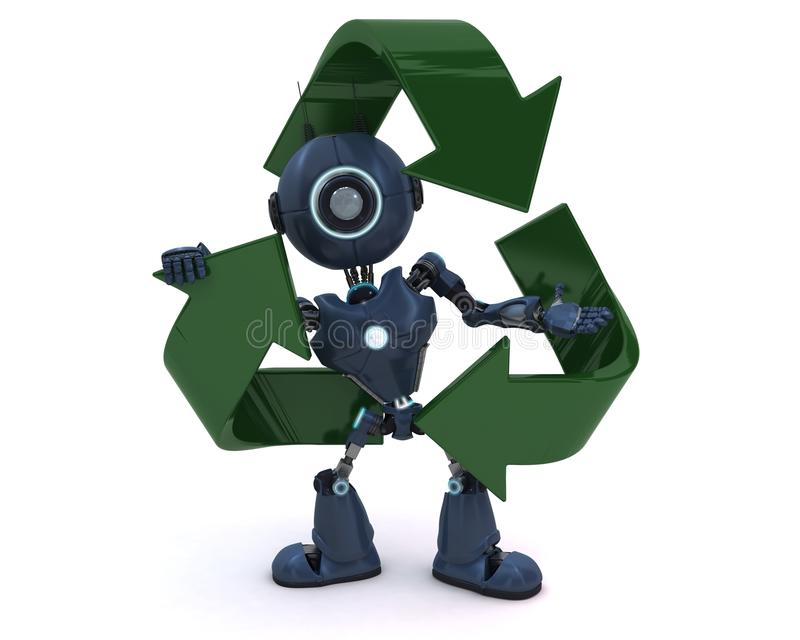 Android with recycling symbol stock illustration