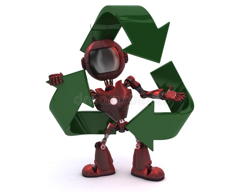 Android with recycling symbol. 3D Render of an Android with recycling symbol vector illustration