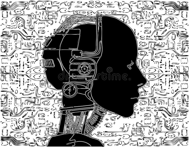 Android Reveals Internal Technology. Of Their Electrical Circuit Vector stock illustration