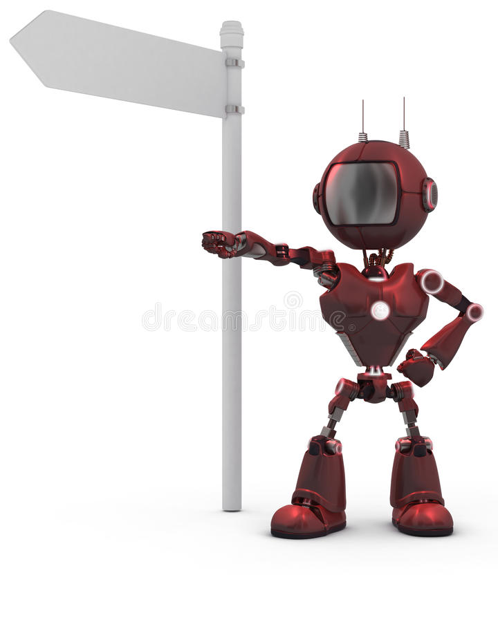 Android with road sign royalty free stock photo