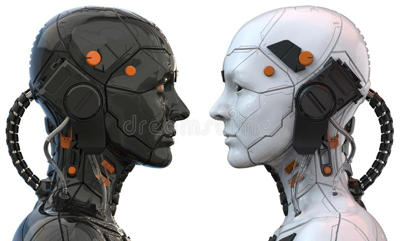 Android robot cyborg woman humanoid  side view - 3d rendering stock illustration