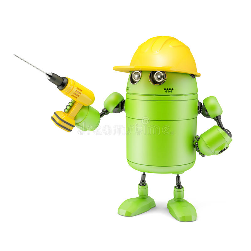 Android robot with drill. Technology concept vector illustration