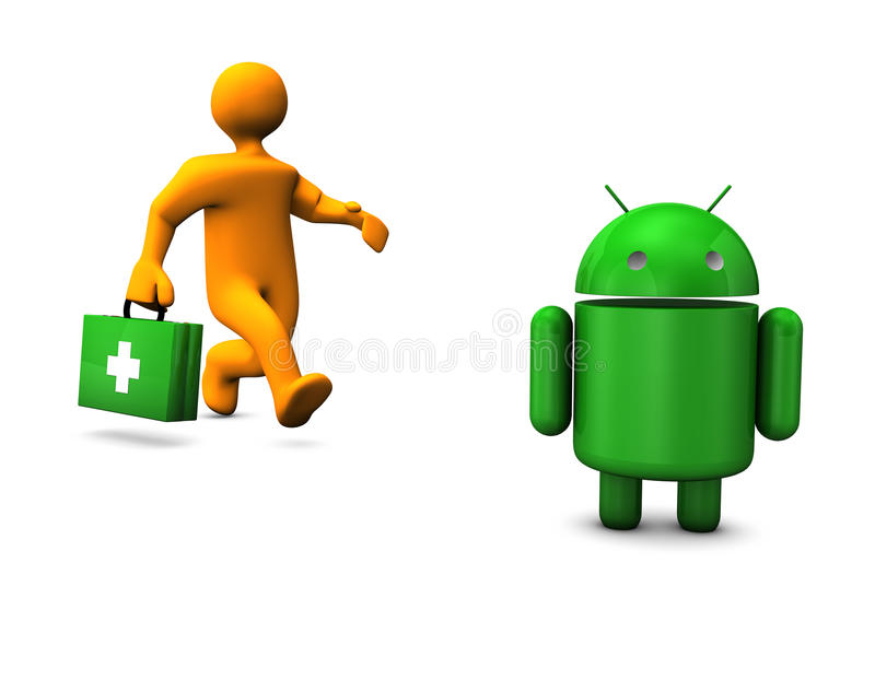 Android Robot Emergency royalty free illustration