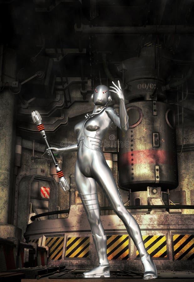 Android robot girl. 3D render science fiction illustration vector illustration