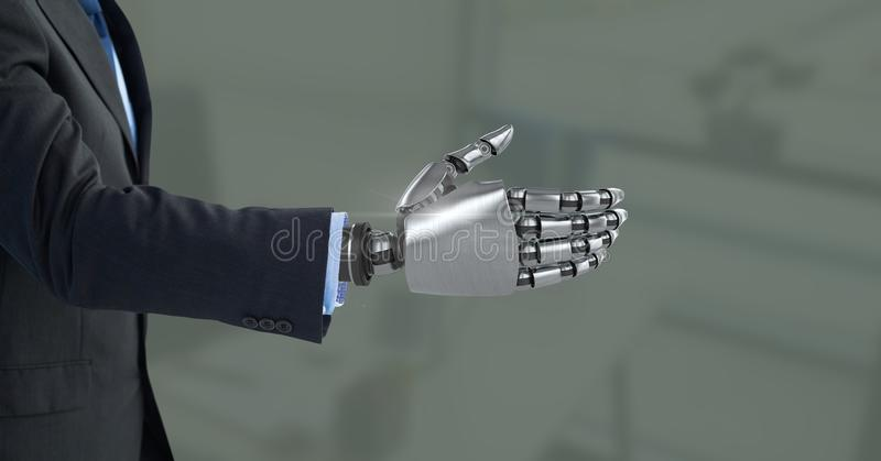 Android Robot hand open with green background royalty free stock photography