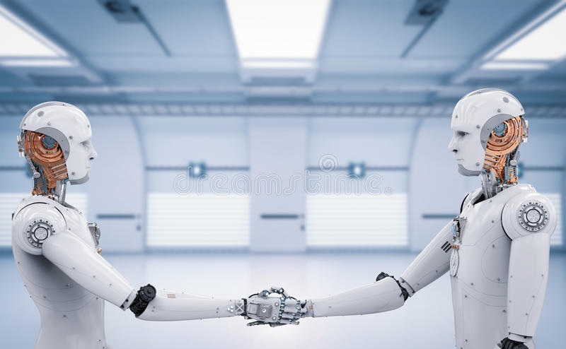 Android robot hand shaking. 3d rendering android robot hand shaking with tunnel background stock photos