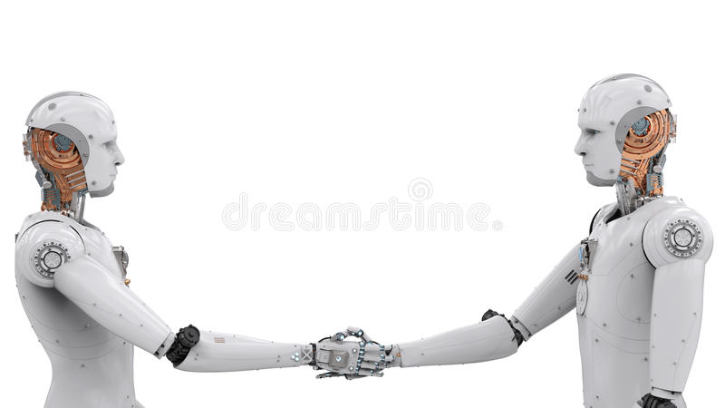 Android robot hand shaking. 3d rendering android robot hand shaking on white background royalty free stock photography