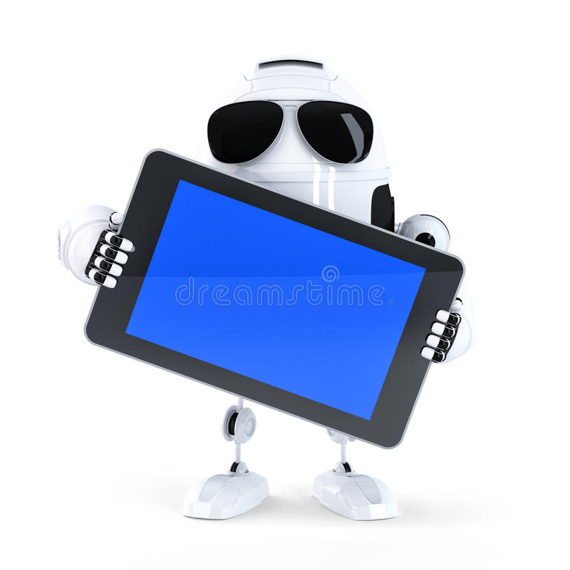 Android robot holding blanc screen mobile device. Isolated vector illustration