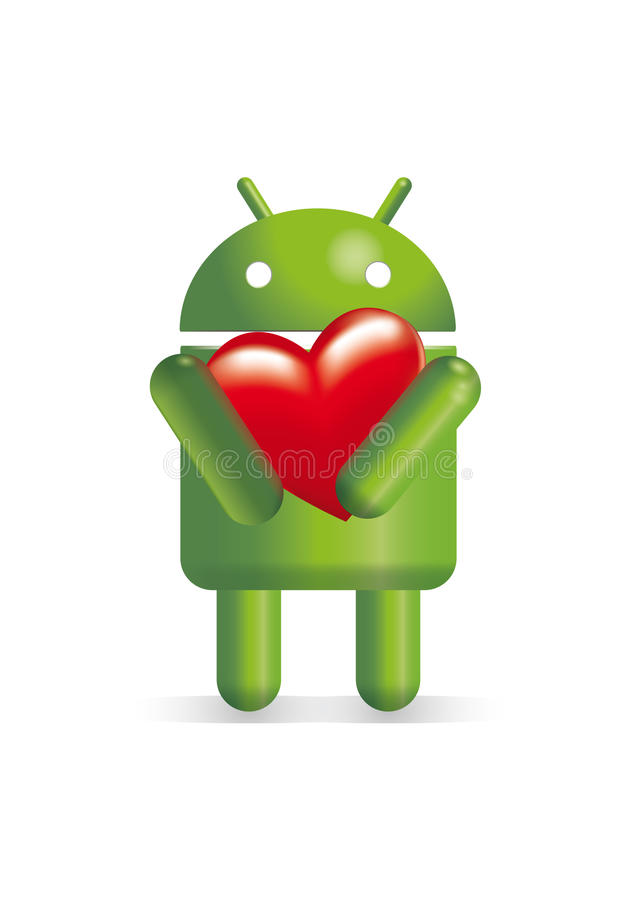 Android robot holding heart royalty free illustration