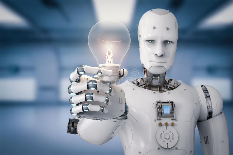 Android robot holding light bulb. 3d rendering android robot holding light bulb royalty free illustration