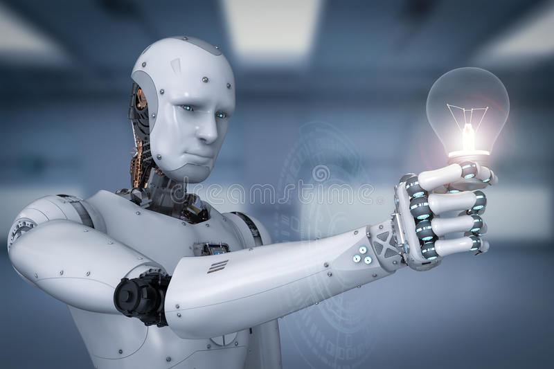 Android robot holding light bulb. 3d rendering android robot holding light bulb stock illustration