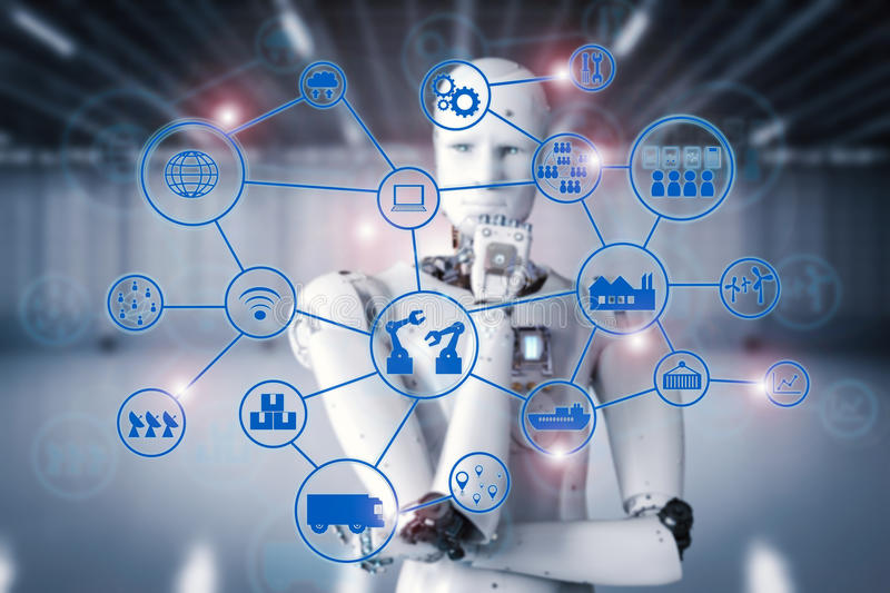 Android robot with industrial network royalty free stock photography