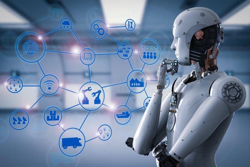 Android robot med det industriella nätverket vektor illustrationer