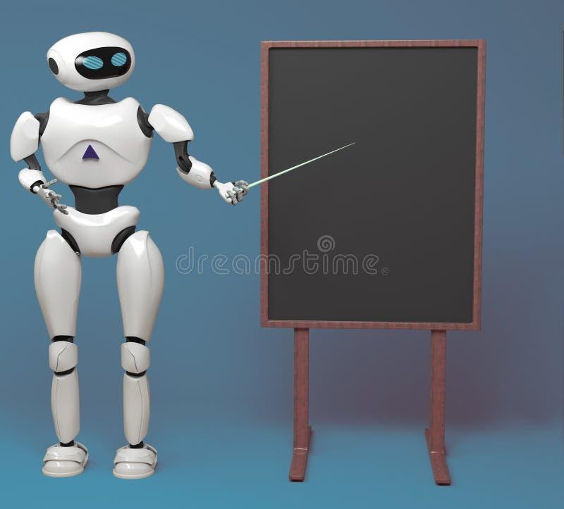 Android-robot met wijzerstok op blauwe achtergrond 3D illustra vector illustratie