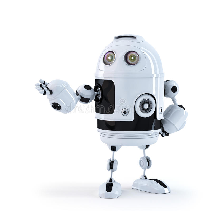 Android Robot Presenting An Invisible Object. Stock Photos