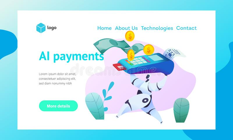 Android robot runs holding terminal with sticky. Check for payment by credit card. Web page template. Metaphor of AI and bots in marketing. Concept of smart royalty free illustration