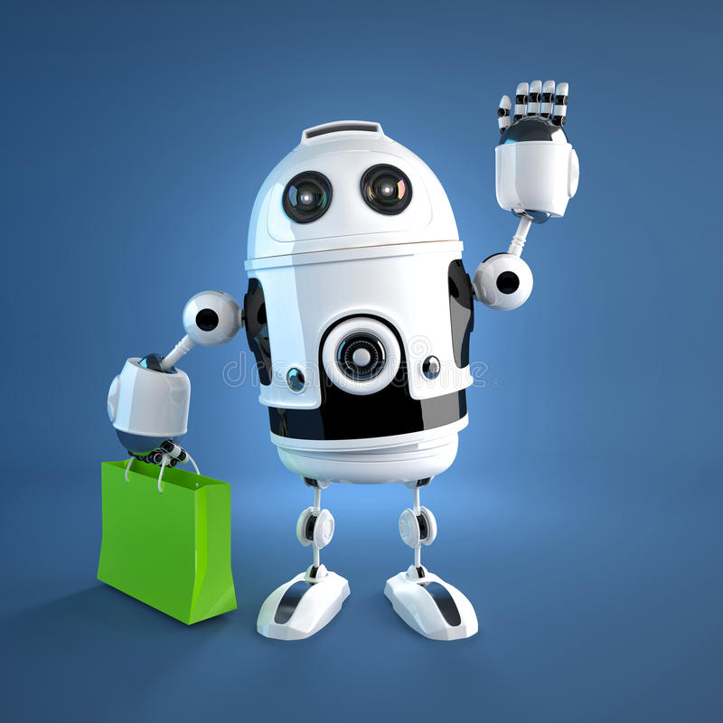 Android robot with shopping bag. royalty free stock photo