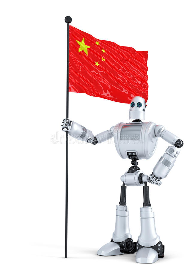 Android Robot standing with flag of China. Isolated. Contains clipping path. Android Robot standing with flag of China. Isolated over white. Contains clipping vector illustration