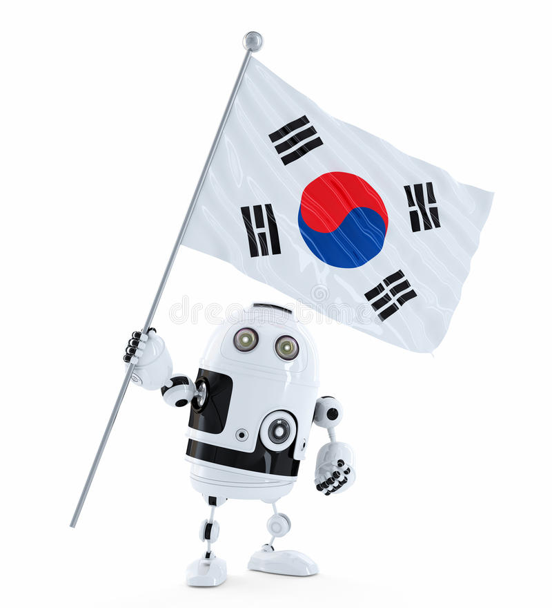 Android Robot standing with flag of South Korea stock illustration