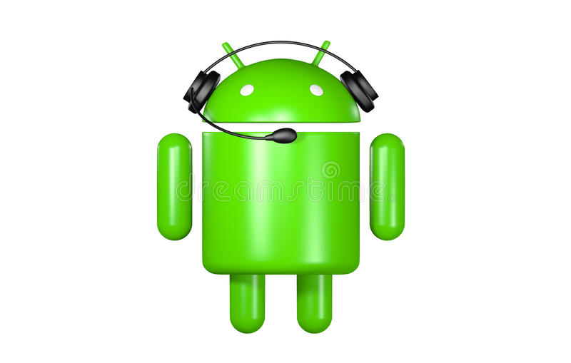 Android Robot Support. 3D Android robot with headphone & microphone stock illustration